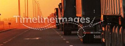 Traffic Jam of Heavy Trucks