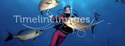 Woman Scuba Diver in Cozumel