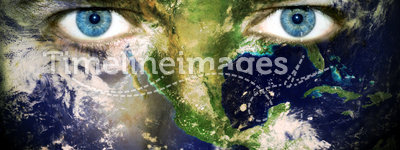 Save the planet - Eyes of Earth. Environment concept: Eyes of planet Earth