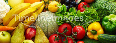 Fruit and vegetables. Group of different fruit and vegetables 1