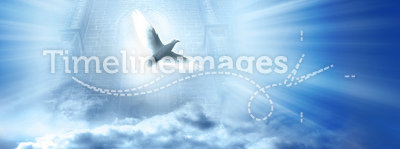Divine spirit. Gate with beams of light coming through it and white dove, conceptual illustraion for divine spirit