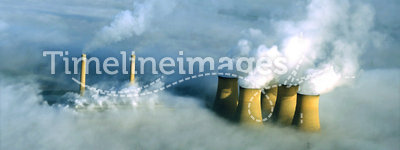 Power station in fog, aerial.