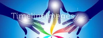 Reiki healing hands. Various reiki hands emiting healing energy. Vector file available