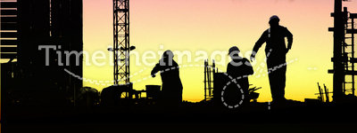 Silhouette worker sunset