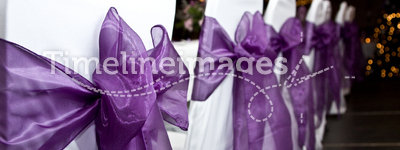 Chairs. Purple and white chair covers