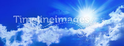 Blue Sun Sky Panorama Banner