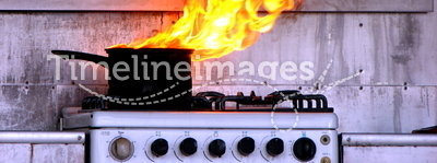 Hot Oil Fire in Kitchen