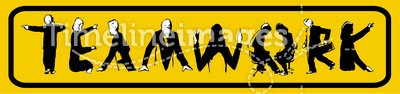 Teamwork logo. The word teamwork illustrated by figures posing as the letters