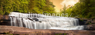 Waterfalls Nature Landscape in Mountains Sunset
