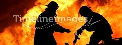 Brave Firefighters in Silhouette